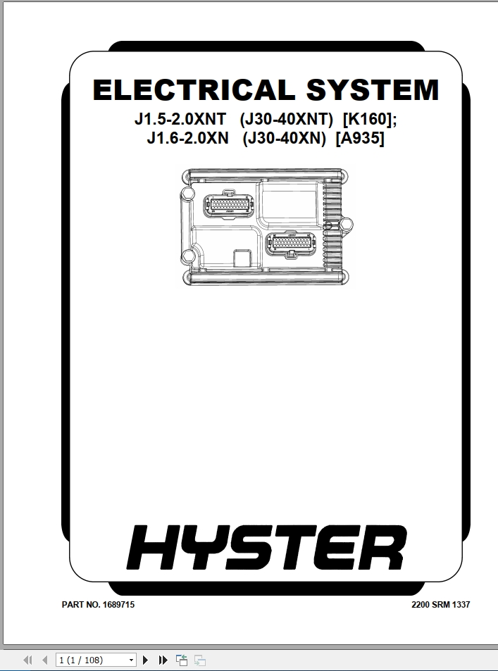 Hyster Forklift Class 1 Electric Motor Rider Trucks A935