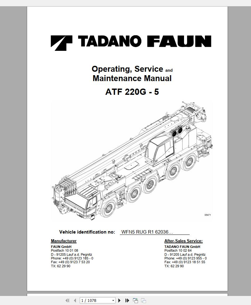 Tadano Mobile Crane & Components Part Manual, Operator