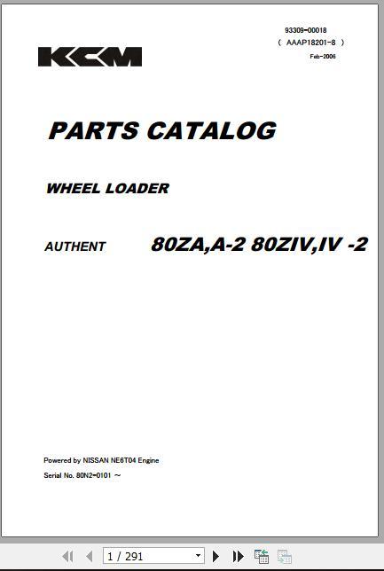 Kawasaki Wheel Loader 80ZIV-2 Part Catalog & Shop Manuals