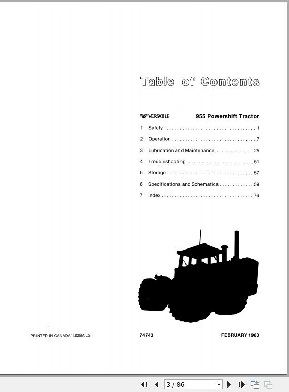 New Holland Versatile 955 Powershift Tractors Operator's