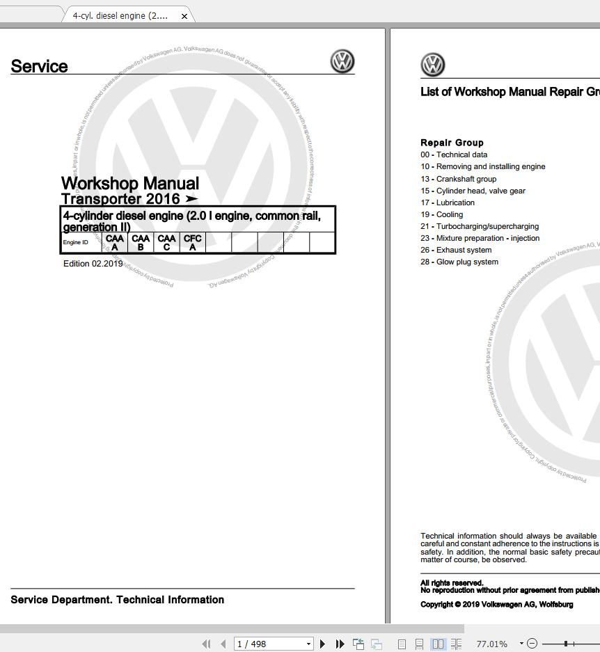 Volkswagen Transporter 2016-2020 Workshop Manuals & EWD