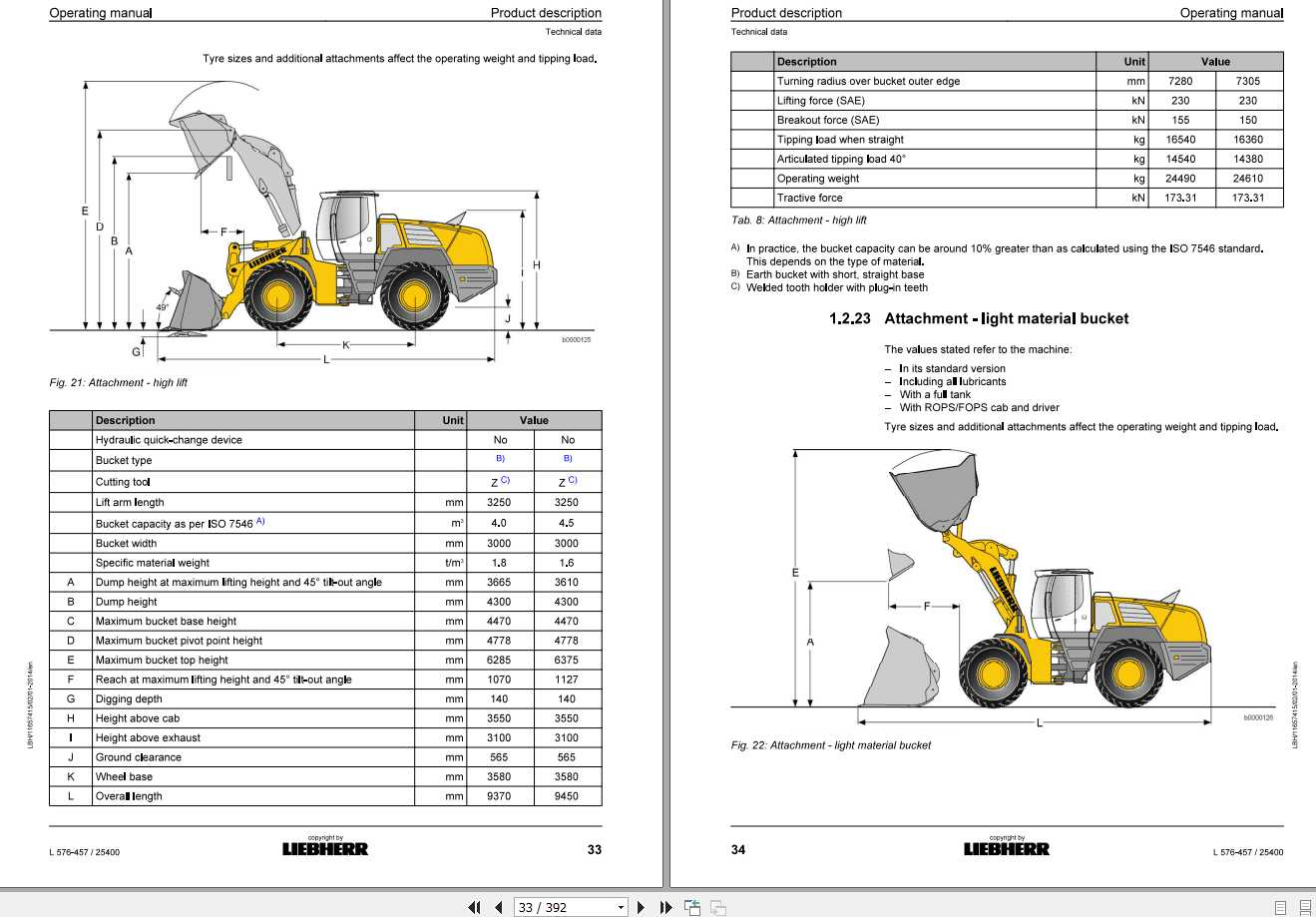 Liebherr Wheel Loader L576-457 S.N-25400 Operators Manual