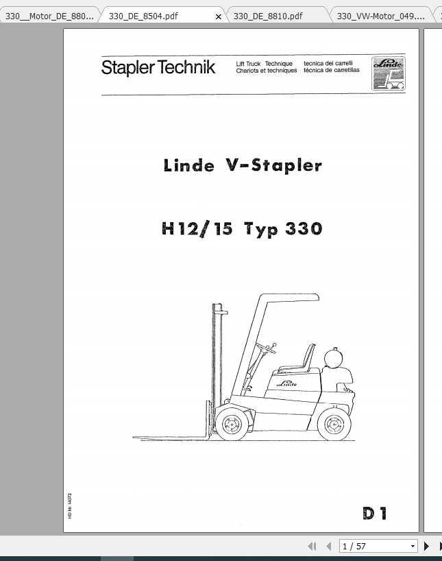 Linde V-Stapler H12-H15 Typ 330 Service Training Manual_DE