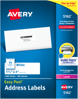 Avery Com Templates 5162 : avery, templates, Avery, Address, Labels, 1-1/3