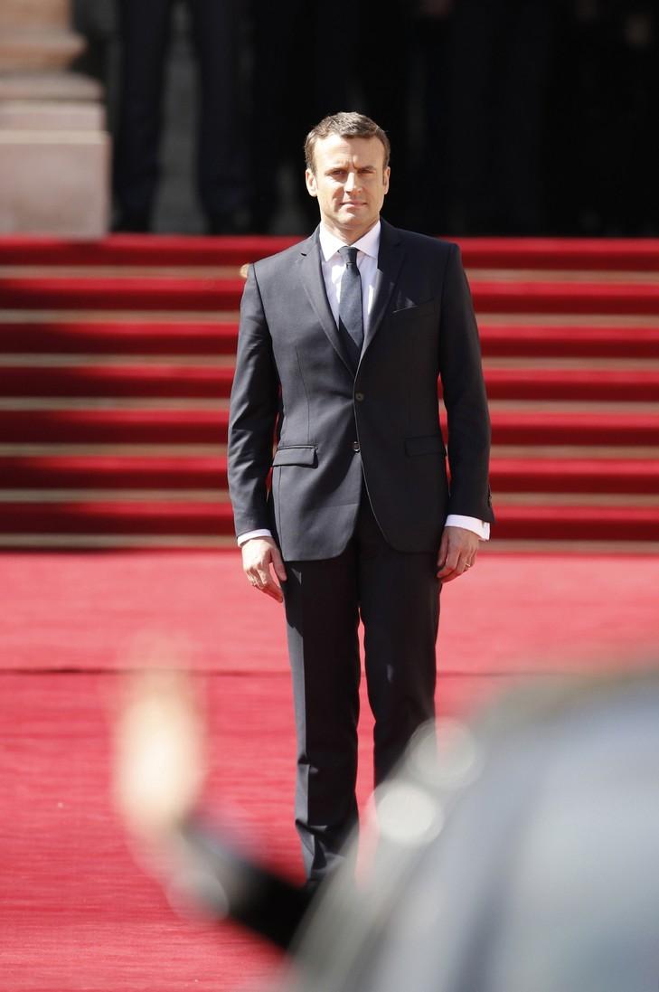 Le nouveau président français Emmanuel Macron, le 14 mai 2017 à l'Elysée / POOL/AFP