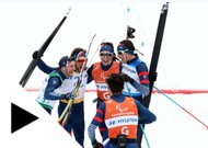 Benjamin Daviet with the relay team in cross-country skiing, composed of Anthony Chale ...