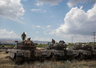 Israeli tanks on the Golan Heights, along the border with Syrian Arab ...