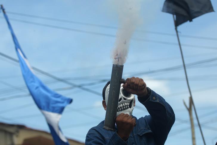 Ein Demonstrant der Opposition in Masaya, Nicaragua, 11. Juli 2018 / AFP