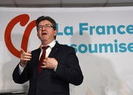 The leader of La France Insoumise (LFI), Jean-Luc Mélenchon, in January 201 ...