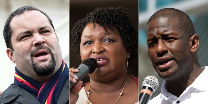 Photomontage showing, from left to right, Ben Jealous, Stacey Abrams and Andrew Gillum / AFP / Archives