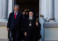 Patriarch Bartholomew of Constantinople and Ukrainian President Petro Poro ...