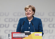 German Chancellor Angela Merkel during her last speech at the head of ...