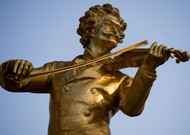 A statue of Johann Strauss, by Edmun Hellmer, Vienna.