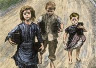 Enfants sur les routes pendant la famine en Irlande. Gravure colorée du XIXème siècle ...