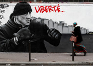 A wall mural of the Black Lines movement in support of former boxer Christo ...