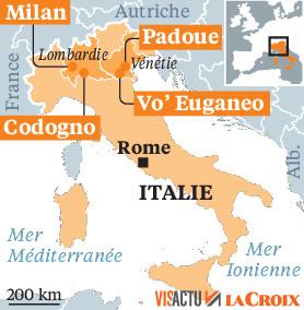 Coronavirus : onze communes en quarantaine en Italie