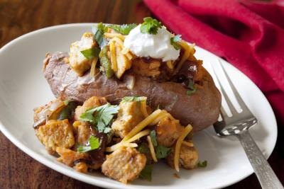 A baked potato is loaded with empty calories.