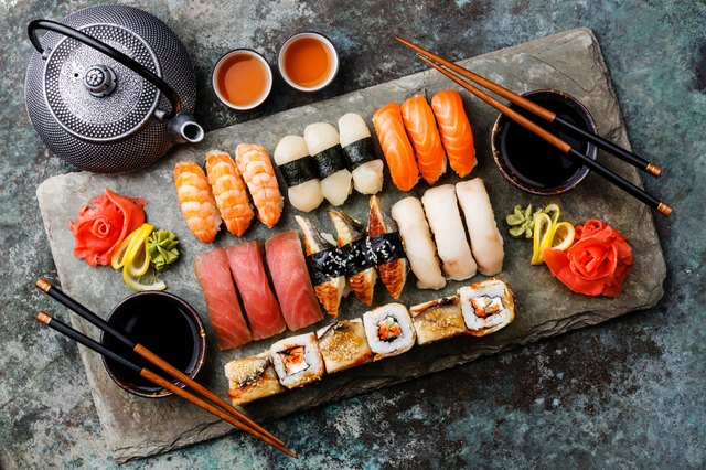 Tuna has a moderate amount of mercury. For lower-mercury options choose sushi or sashimi made with salmon or shrimp.