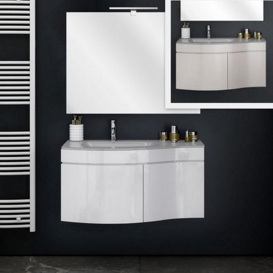 Mobile bagno Asia bianco o tortora da cm 80 o 100 lavabo