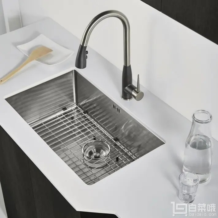kraus kitchen faucets renovate cost 克劳思ckhu100 28 台下式不锈钢拉丝单盆厨房水槽赠滤水网片 毛巾 235 png
