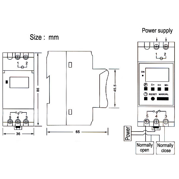 DC 12V Din Rail LCD Programmable Timer Switch Time Relay