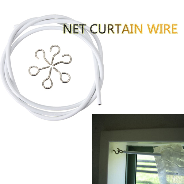 1m White Window Net Caravan Curtain Wire Spring Cord Cable Kit With Hooks And Eyes