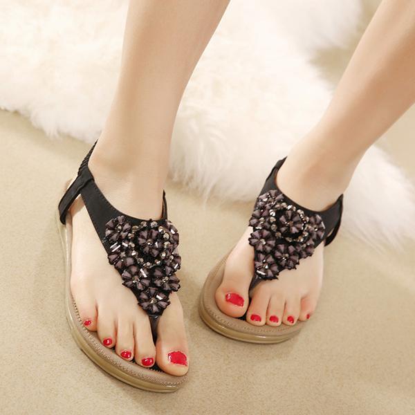 US Size 5-10 Summer Women Diamond Bohemian Casual Outdoor Beach Flower Fashion Soft Flat Sandals