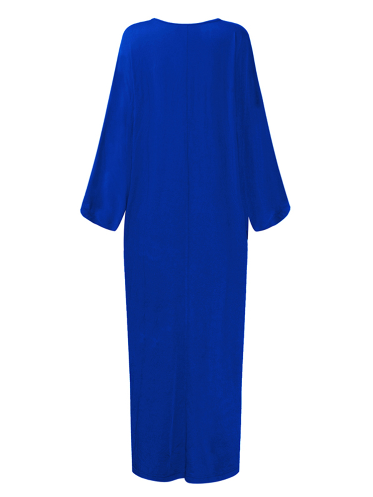 Casual Loose Women Pure Color Batwing Sleeve Ankle-length Dresses
