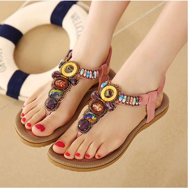 US Size 5-11 Women Summer Bohemian Outdoor Fashion Soft Comfortable Beach Flat Sandals Shoes