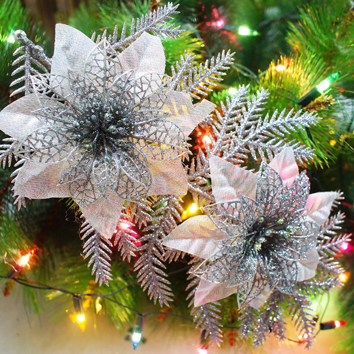 Glitter Artificial Christmas Tree Flowers Ornament Pendant