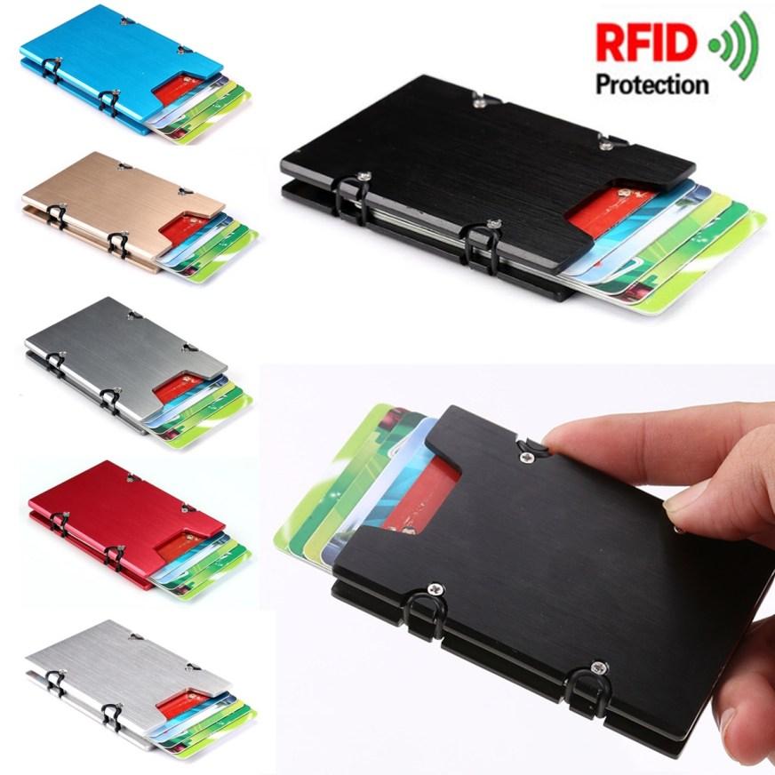 RFID Blocking Aluminum Alloy Slim Credit Card Holder Men ...