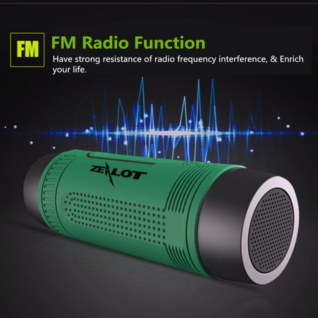Zealot S1 Wireless Bluetooth Speaker Dustproof Waterproof Flashlight FM Power Bank Multi F 17