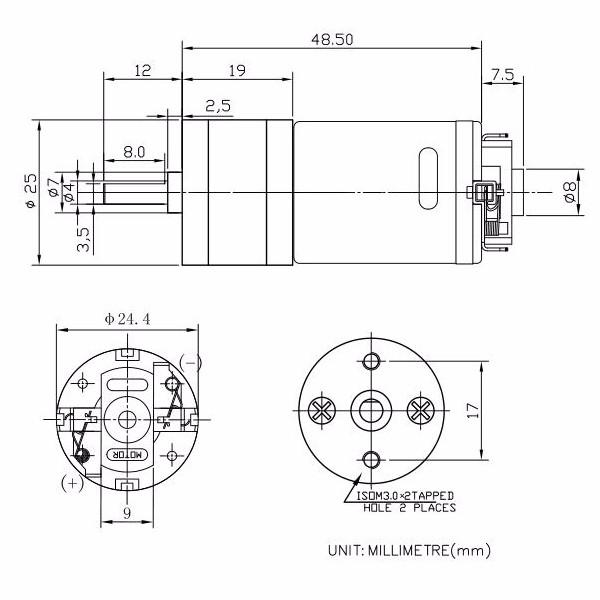 GM25-370 Motor DC 6.0/12.0V Black Brushed Motor 4mm Shaft