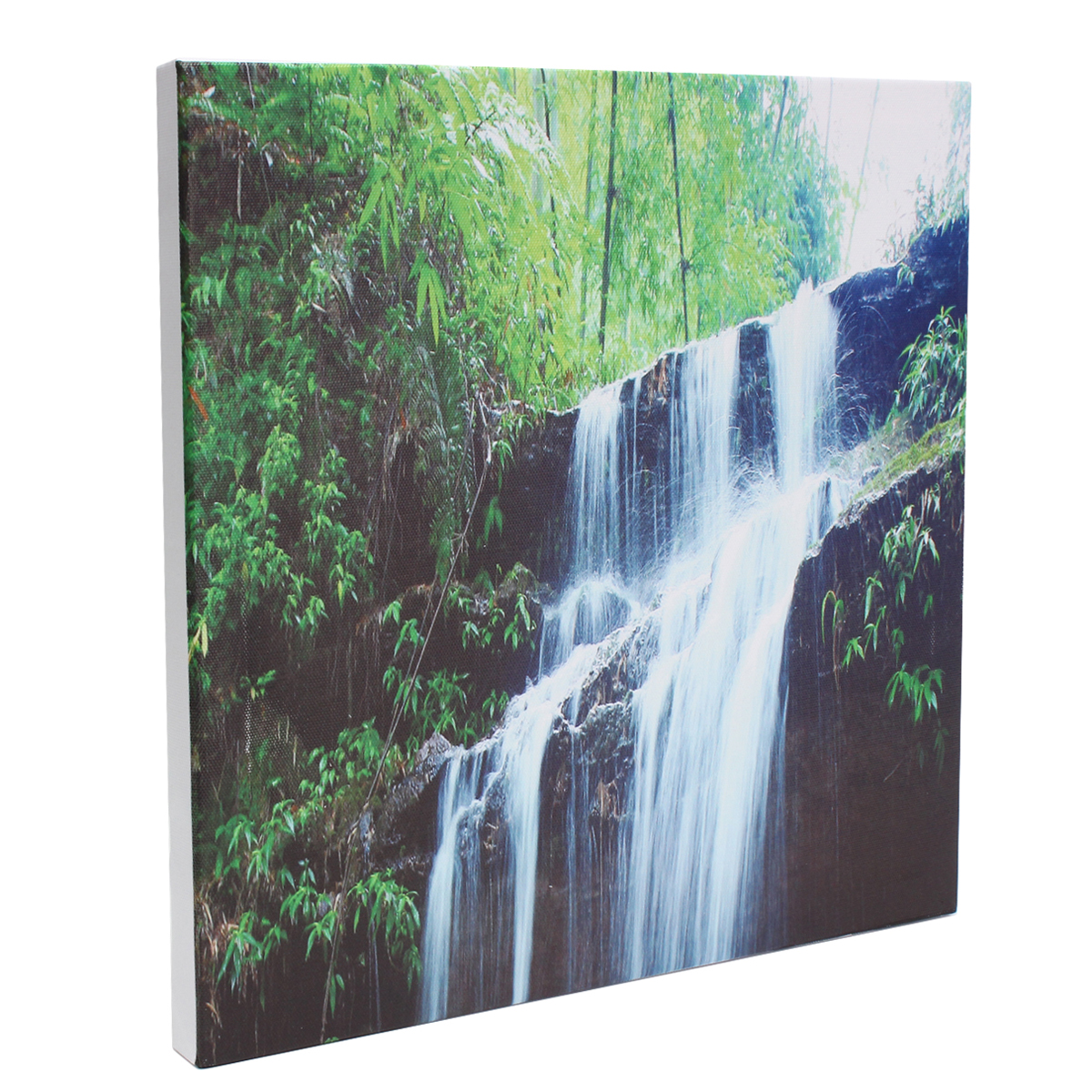 nice living room color round ottoman decor 3 cascade large waterfall framed print painting canvas ...