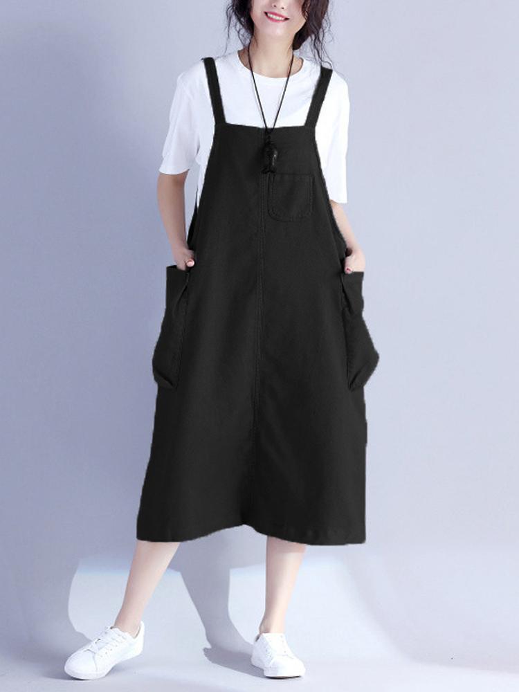Women Loose Vintage Sleeveless Pocket Retro Mid-long Dress