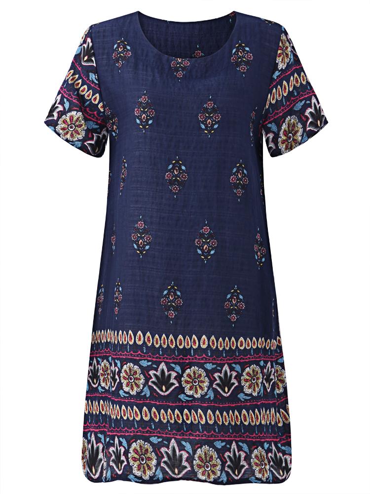 Bohemian Women Floral Printed Side Pockets Dresses