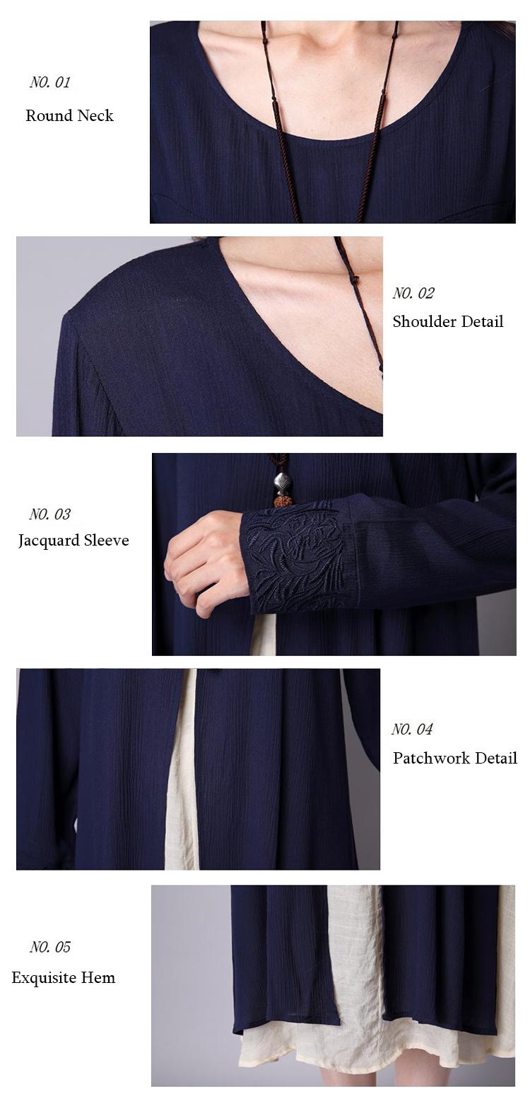 Ruffles Patchwork Long Sleeve Dress Detail