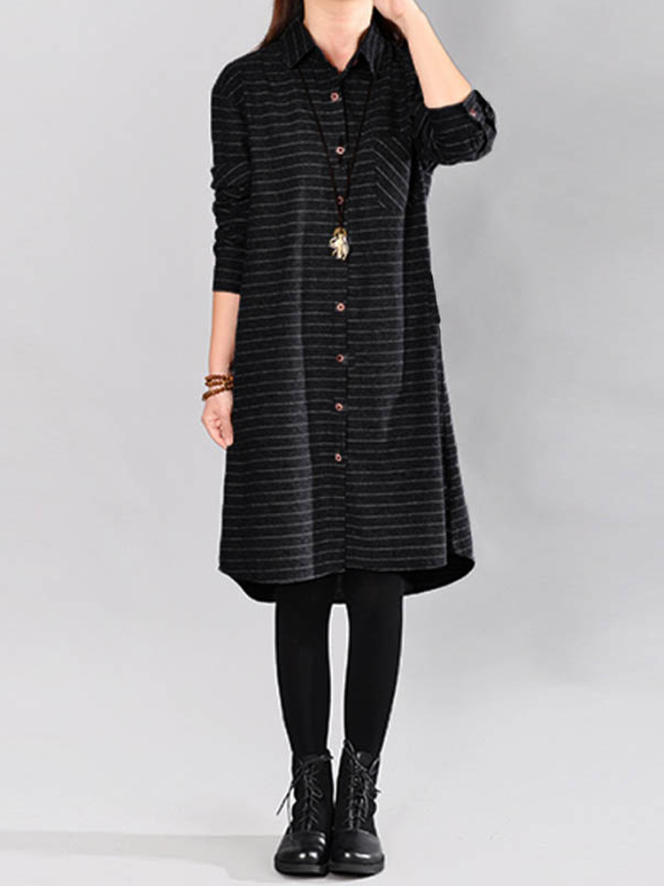 Women Stripe Loose Buttons Down Asymmetric Shirt Dress