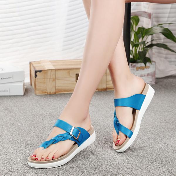 Big Size Women Beach Flat Sandals Buckle Clip Toe Flat Open Heel Flip Flops Sandals