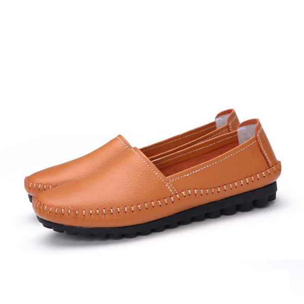Women Casual Outdoor Leather Soft Comfortable Slip On Flat Loafers Shoes