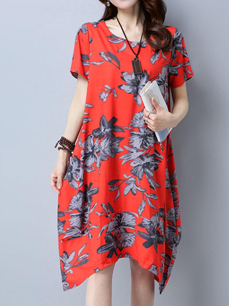 Elegant Floral Printed O-Neck Short Sleeve Irregular Hem Women Dress