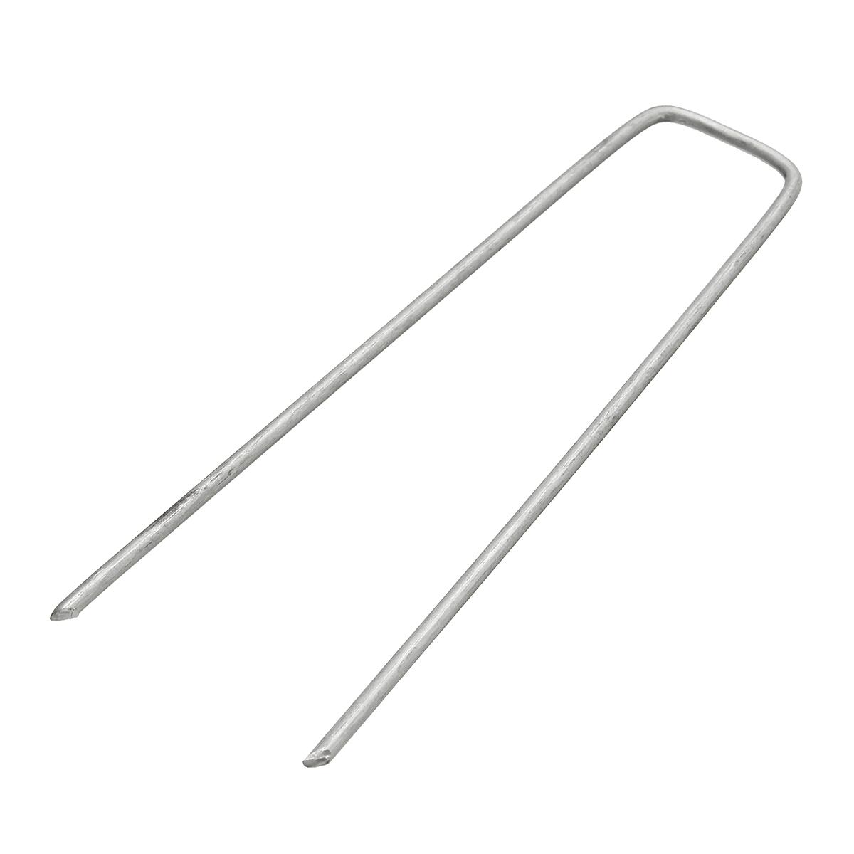10Pcs Artificial Grass Turf Pegs Silver U Shape Metal Pins