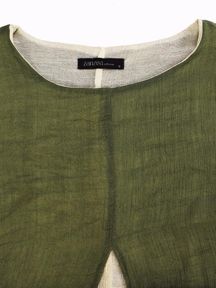Women Casual Folk Style Solid Split Fake Two-piece Maxi Dress