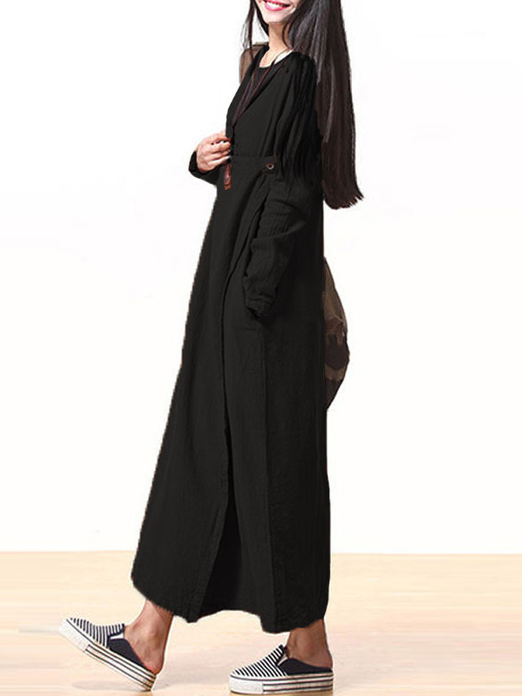 L-5XL Vintage Women V-neck Pure Color Loose Maxi Dress