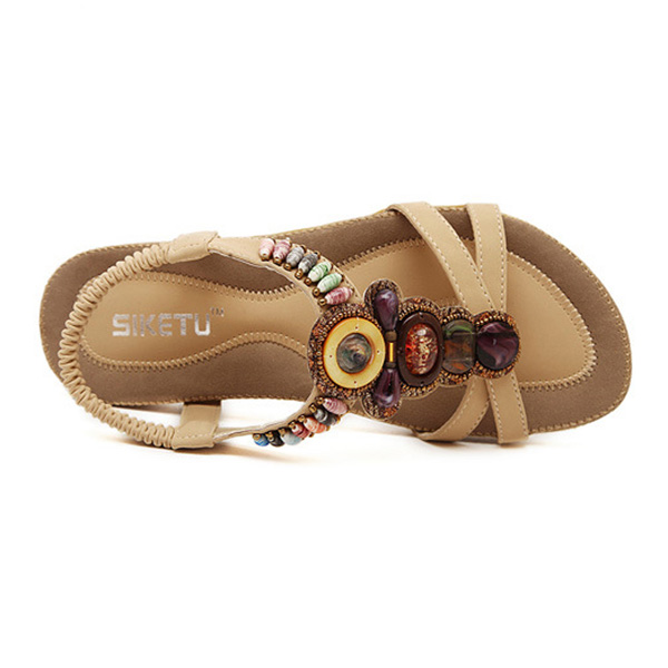Women Summer Leisure Beach Sandals Peep Toe Chic Shoes Casual Flat Sandals