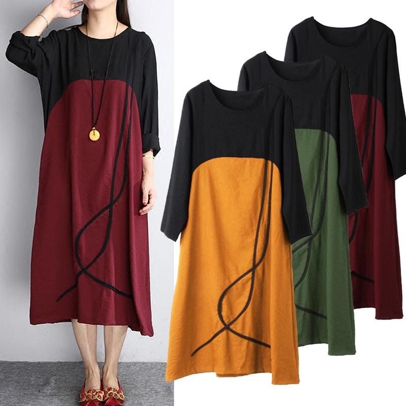 Casual Women Long Sleeve O-Neck Patchwork Pocket Dress