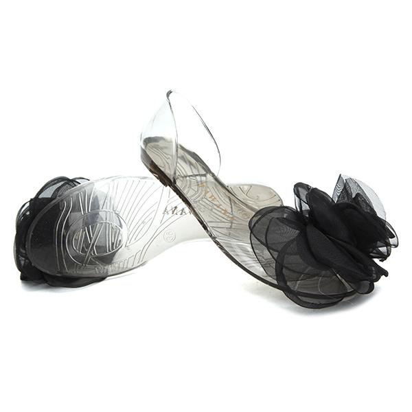 Women Summer Flower Lace Transparent Peep Toe Slip On Beach Flat Sandals Slippers