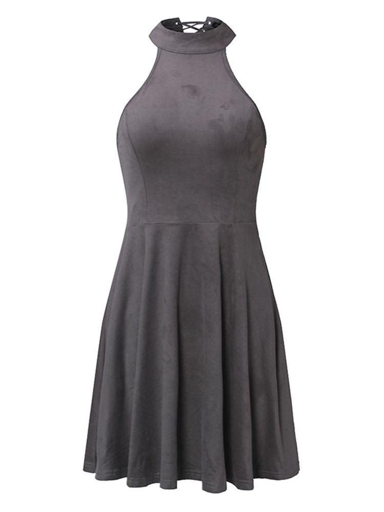 Sexy Sleeveless Halter Women Lace-Up Back Mini Dresses