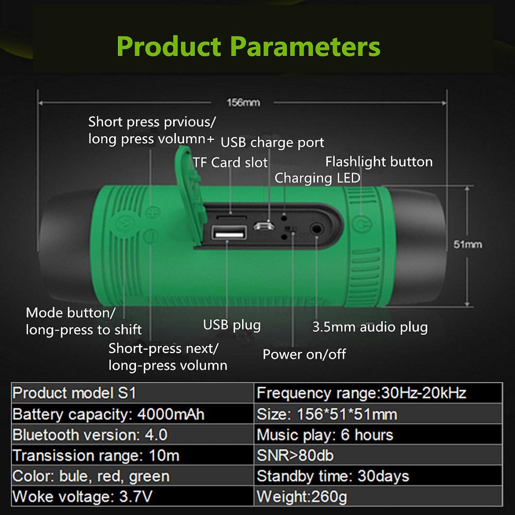 Zealot S1 Wireless Bluetooth Speaker Dustproof Waterproof Flashlight FM Power Bank Multi F 19