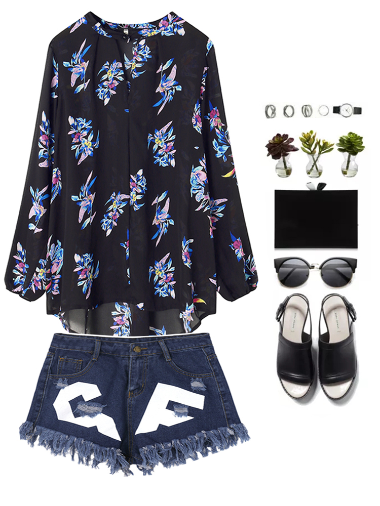 Black Floral Printed Casual Loose V Neck Chiffon Blouse For Women